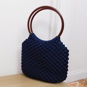 Vintage Navy Woven Circle Strap Bag